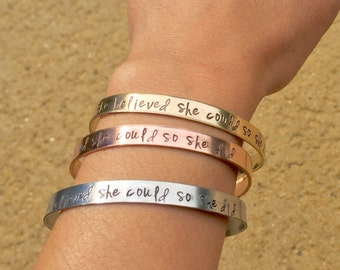 She Believed She Could So She Did Bracelet, Graduation 2017, Gifts for Graduation, Personalized Cuff, natashaaloha