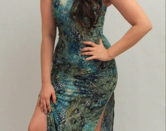 Sexy Peacock Jungle Fitted Midi Maxi Dress Free Shipping