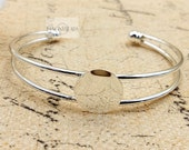 15 pcs Blank bangles open Bracelet Blanks With Pad Match 20mm Cabochon Set real silver plating-T0693