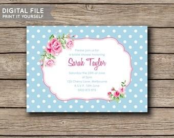 DIGITAL FILE - Printable DIY Floral Invite Bridal Shower / Kitchen Tea Invitation - Flowers & Polka Dots