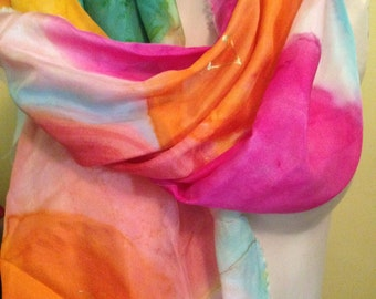 Handpainted Rainbow Love by The Silk Maid
