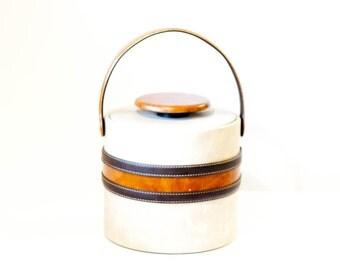 Vintage ice bucket, brown tan faux leather striped multi color vinyl pleather, Elmar Mfg.