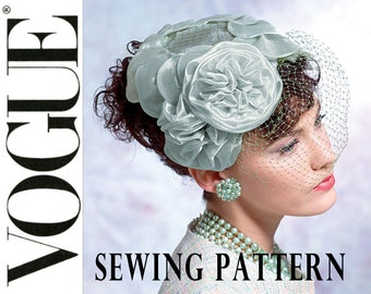 1950s Fascinator Hat Pattern Uncut Vogue V8052 Birdcage Brimmed Hat Rosettes Millinery Net Veil Wedding Bridal Womens Vintage Sewing Pattern