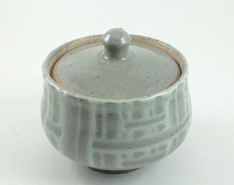 Light Blue Basket Weave Hand Thrown Sugar Jar (YCP624)