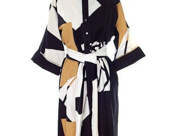 Vintage Catherine Ogust /Penthouse Gallery Shirt Dress Abstract Stained Glass  1970s