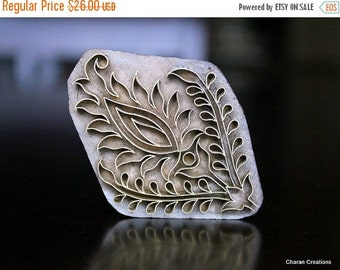 THANKSGIVING SALE Handmade Indian Wood and Brass Textile Stamp- Floral Motif