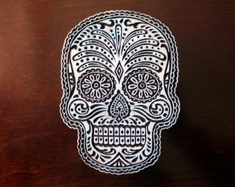 Hand Carved Indian Wood Textile Stamp Block- Sugar Skull