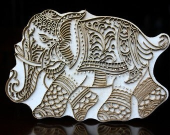 Handmade Indian Wood and Brass Textile Stamp- Jumbo Elephant Stamp