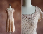 vintage 1950's pale pink lace & rhinestone party dress with scalloped collar / size s