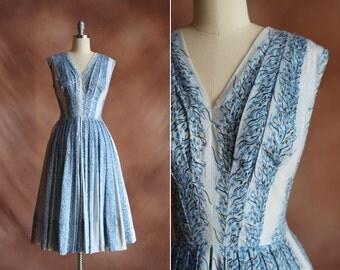 vintage 1950's floral print swiss dot cotton summer dress / size s