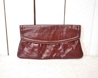 Red Leather Clutch 1970s Burgundy Wine Red Vintage Handbag Envelope Clutch