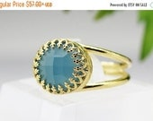 Gold Blue chalcedony ring,lace ring,gold ring,gemstone ring,summer ring,14k gold filled ring,semi precious ring