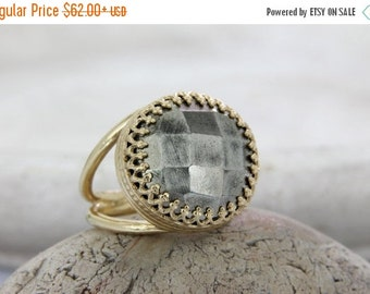 Grey Pyrite ring,14k gold ring,solid gold ring,natural gemstone ring,statement ring,customize rings