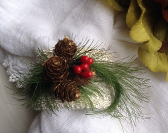 Evergreen & Pinecone Winter Branch / Bouquet Holder Handcrafted Hand Crafted Single Napkin Ring Photo Prop Decor ~ #76