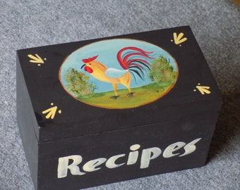 Folk Style RoosterThemed Recipe Box