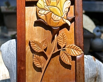 Hardwood Intarsia Rose Wall Art