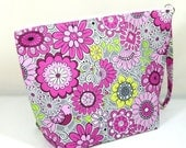 Knitting Project Bag - Medium Zipper Wedge Bag in Floral and Bird Fabric and Pink Cotton Lining