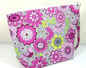 Knitting Project Bag - Large Zipper Wedge Bag in Floral and Bird Fabric and Pink Cotton Lining
