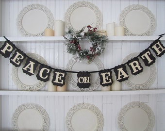 PEACE on EARTH Banner, Peace on Earth Sign, Christmas Sign, Nativity, Christian Christmas, Baby Jesus, Religious Sign, Religious Banner
