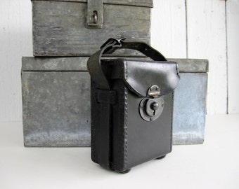 Vintage Small Camera Case Lens Voltage Meter Box Narrow Black Leather Short Strap Steam Punk Bag Storage