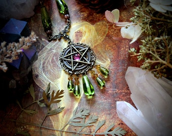 The Forest Witch Necklace, pentagram necklace, pagan jewelry, wiccan necklace, wicca, talisman, fae, pentacle, witchcraft, magick, fairy