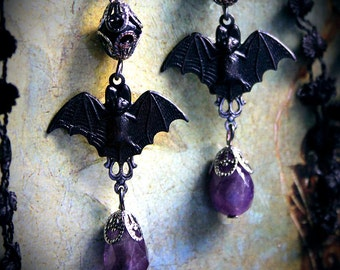 Victorian Bat earrings, Gothic Halloween earrings, Gothic Bat Earrings, Halloween jewelry, amethyst, Gothic Victorian earrings, Gothic bats