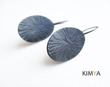 Hammered Oxidized Silver Dangle Earrings - Oval Textured Silver Earrings - Contemporary Artisan Oxidized Earring - Contemporary Jewelry