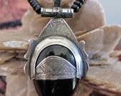 African Silver Amulet Necklace, Tuareg Amulet with Onyx Stone & Tifinagh Inscription