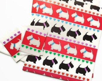 Scottie Dog, Scottish Terriers: Pkg. of 2 Larger Folded Gift Wrap Sheets & Gift Cards