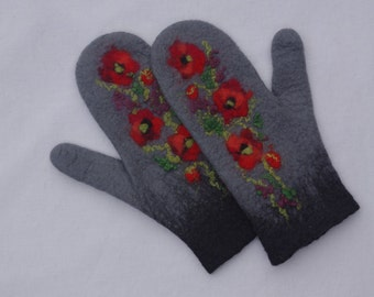 Felted Mittens - Gray, Red - Poppies