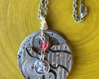 Silver Pocket Watch Pendant with Guardian Angel