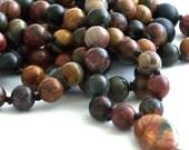 Red Creek Jasper and Matte Onyx Hand Knotted 108 Mala| Meditation Jewelry | Tassel Necklace | Meditation Necklace