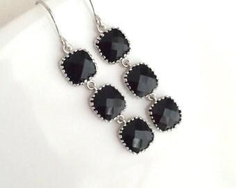 Silver Black Earrings. Sivler Bridesmaid Earrings. Black Drop Earrings.Wedding Earrings.Onyx.Bridal Earrings.Bridesmaid Gifts.Bridal Jewelry