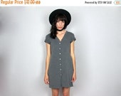 SUMMERSALE Cardigan Dress - 90s Grey Ribbed Vintage Womens VTG - Size M