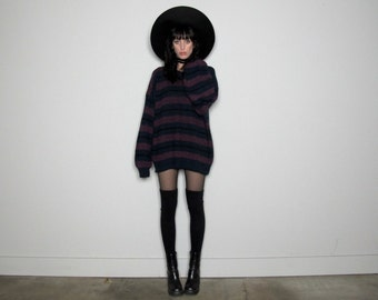 GRUNGE Striped 90s SWEATER Unisex Black Blue Plum Over-sized Vintage Size L