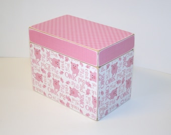 Recipe Box, Pink Pig Recipe Box, Gingham Recipe Box, Pink and White Recipe Box, 4x6 Wooden Recipe Box, Recipe Organizer, Pink Keepsake Box
