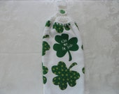 Hanging Double Kitchen St Patricks's Day Towel  Kiss Me I'm Irish Towel Shamrock Towel Crochet Hanging Kitchen Towel