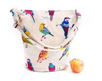 Bucket Shoulder Bag / Tote Bag / Handbag with an Oval Bottom - Echino Birds / Budgies
