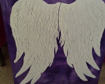 Hand painted angel wing canvas,angel wing original painting, textured feathers angel wings painting, nursery wings