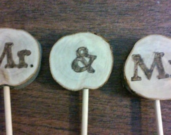 Mr. & Mr. cake toppers