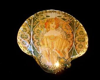 Alfonse Mucha Shell Jewelry Dish Ring Dish Trinket Dish Shell Art