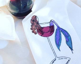 Brunette Mermaid In Wine Dish Towels Flour Sack Dish Cloth