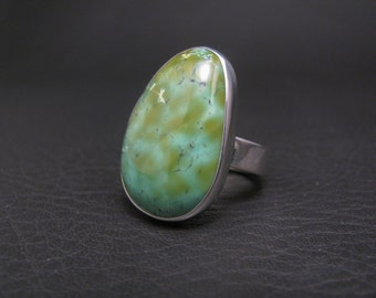 Green Turquoise Ring Handmade Turquoise Ring Turquoise Jewelry Sterling Silver Jewelry Thunder Sky Jewelry Philip Troyer