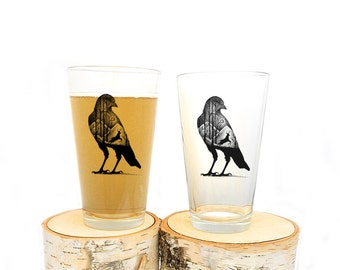 Pint Glass - The Crow and Deer - Screen Printed Glasses - Set of Two 16oz. Pint Glasses