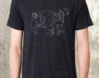 Men's Tri Blend T-Shirt - Music Speaker Diagram - American Apparel Track Tee - Men's Small - 2XL Available