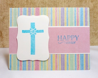 Happy Easter Card, Religious Card, Easter Cross, Handmade Easter Cards, Clearance