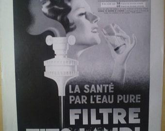 Original Vintage Art Deco French Ad  Tito Landi Water Filter 1931