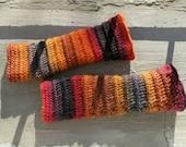 Wool Fingerless Mittens. Multicolor Wrist Warmers. Crochet Fingerless Gloves. Red Orange Grey Winter Mitts. Women Handknitted Arm Warmers.