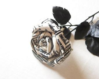 Paper print  rose, Black rose ,pink  Leather Rose-  Wedding flower -3rd Anniversary Gift- Long Stem rose