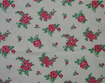 Vintage Full Cotton Feedsack, Fabric White with Red Flowers, Excellent, 37 x 43""
